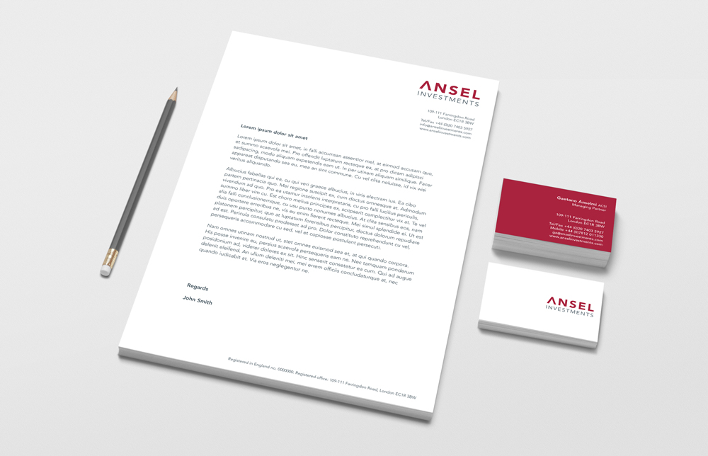 Ansel Investments stationery