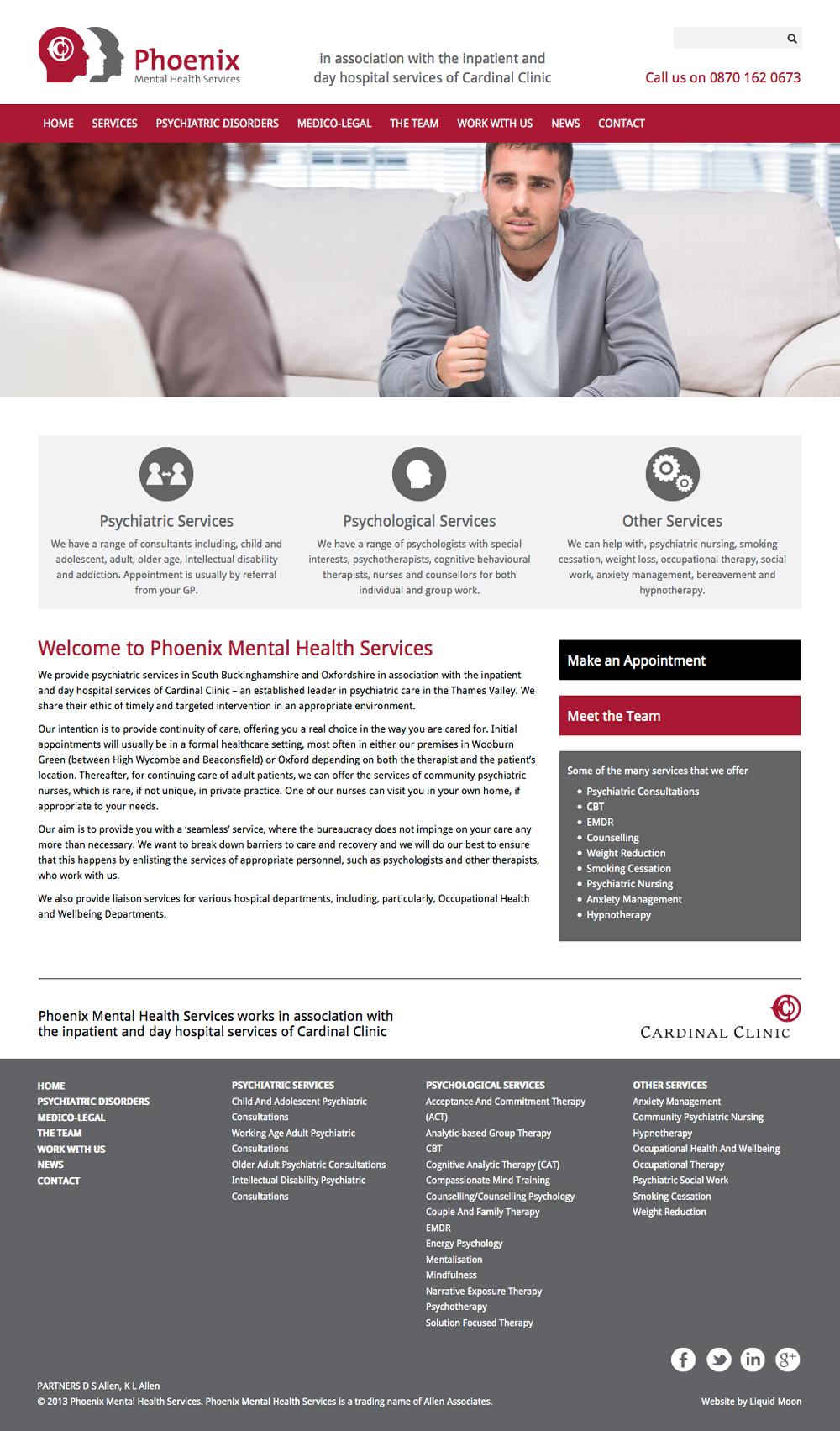 Phoenix Mental Health Services website