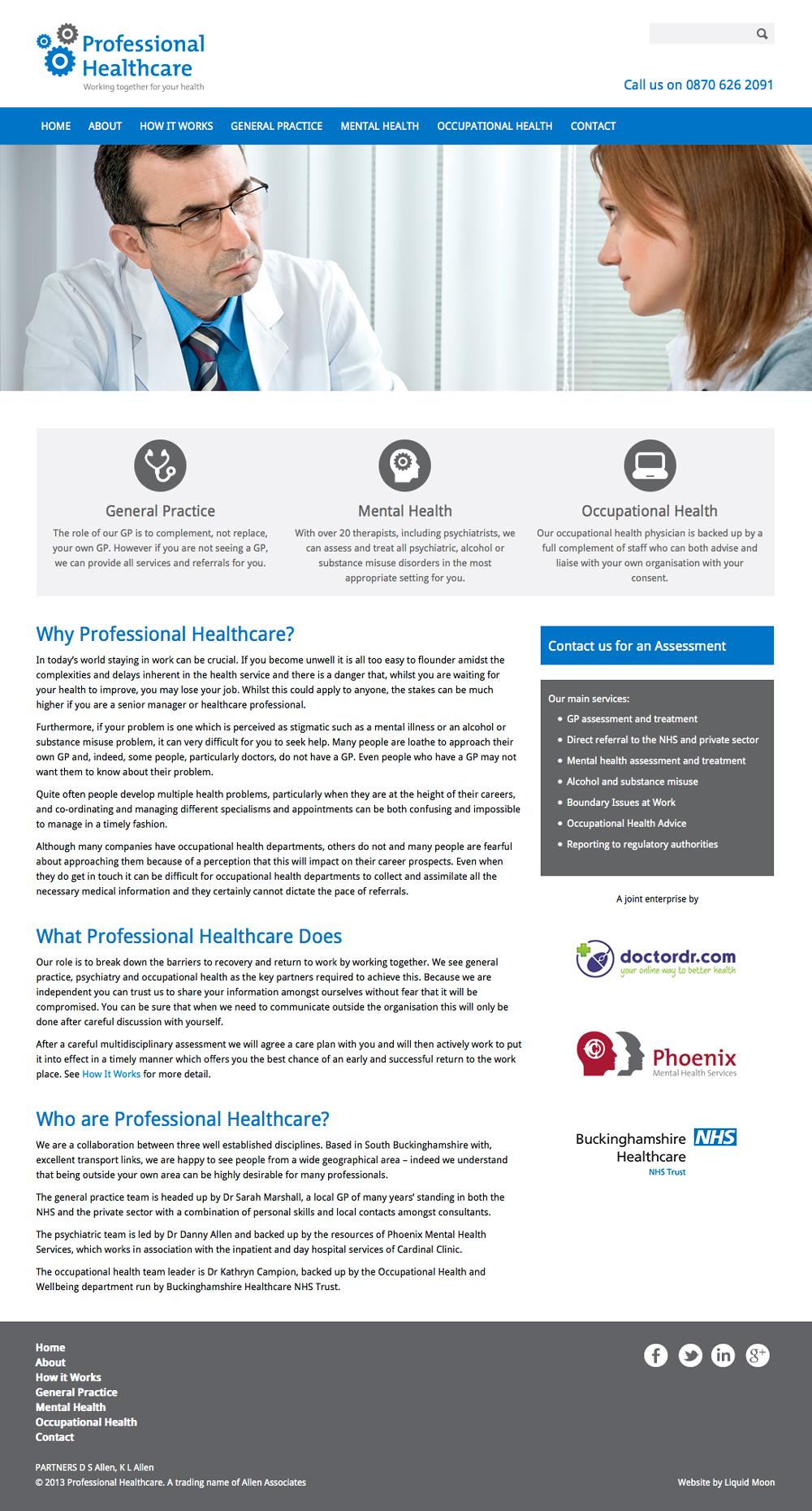 Professional Healthcare website