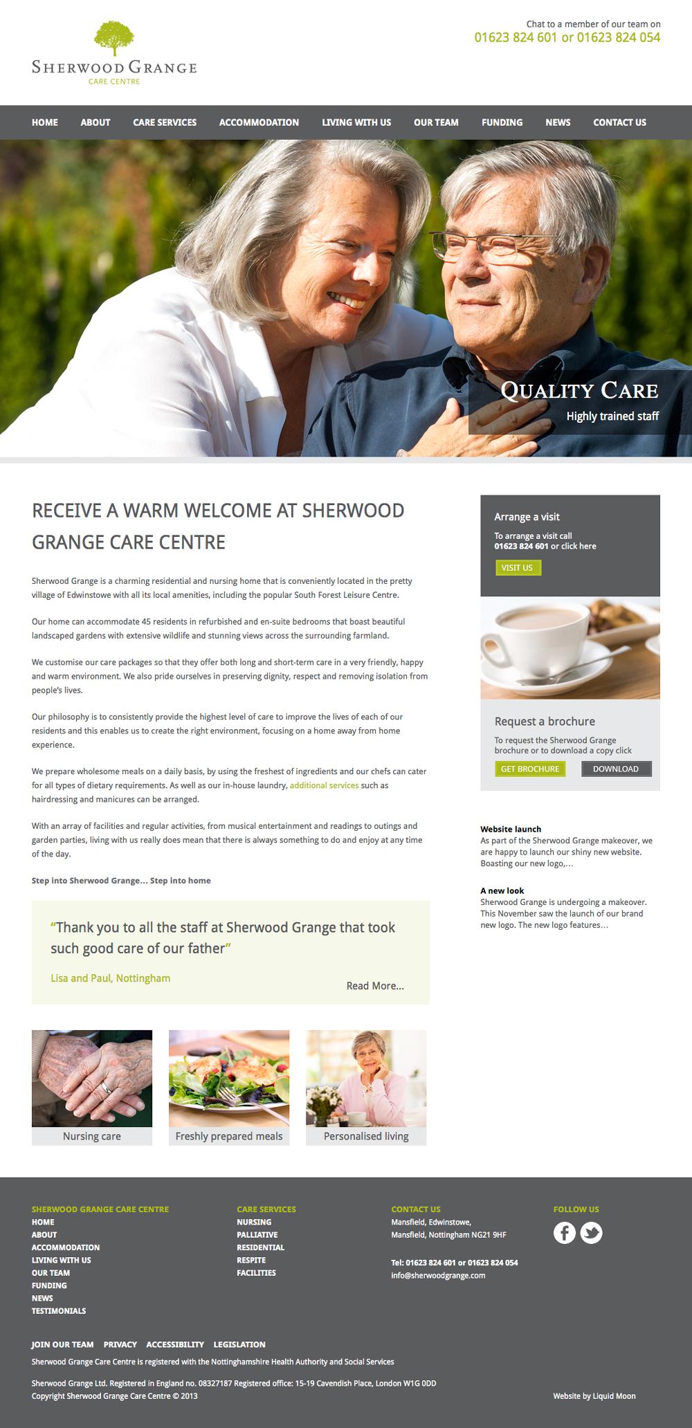 Sherwood Grange Care Centre website